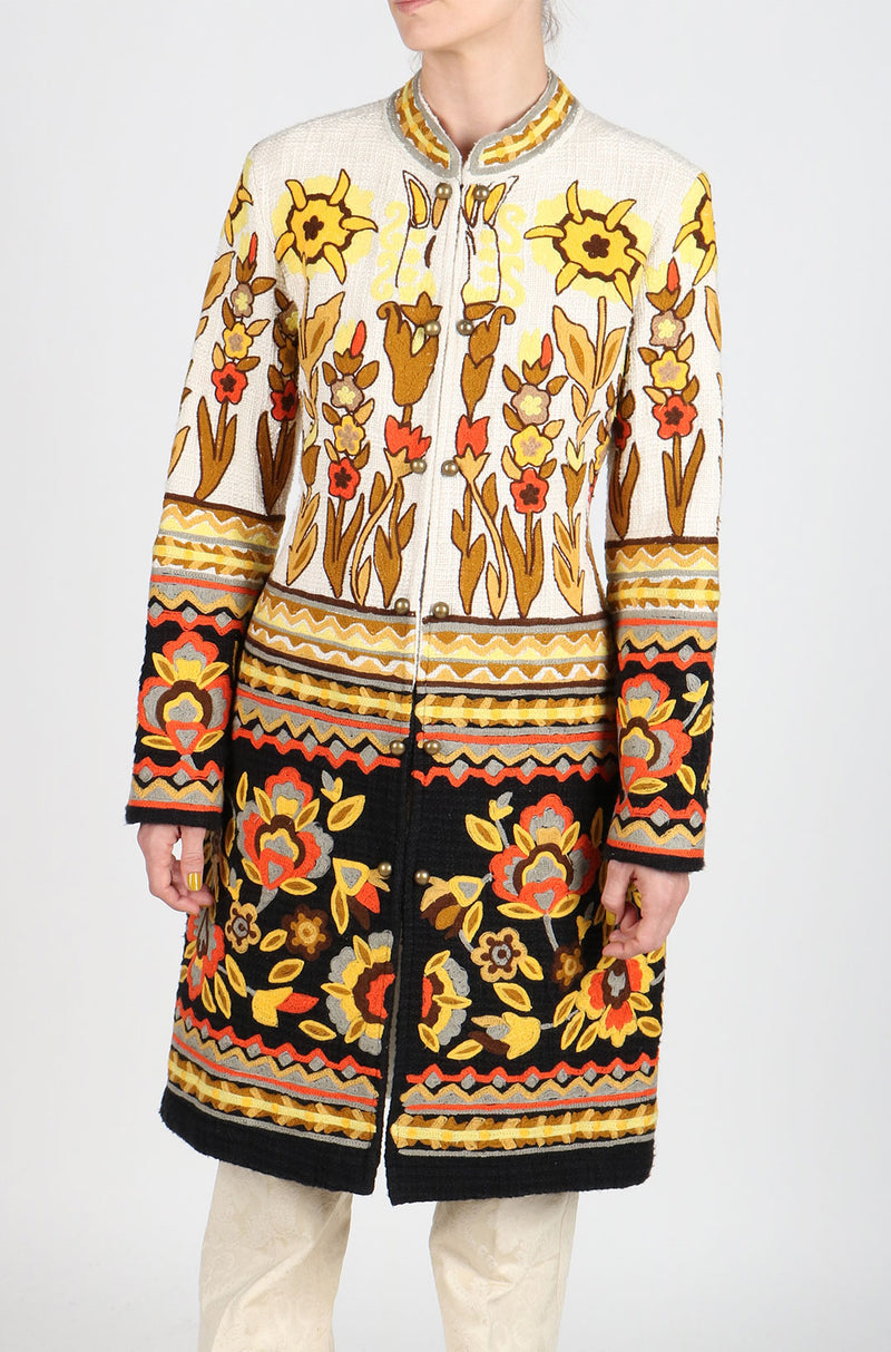 Fanm Mon LESDEUX Vyshyvanka Jacket Dress Embroidered Cream Black Yellow Embroidered Coat SIZE XS/S