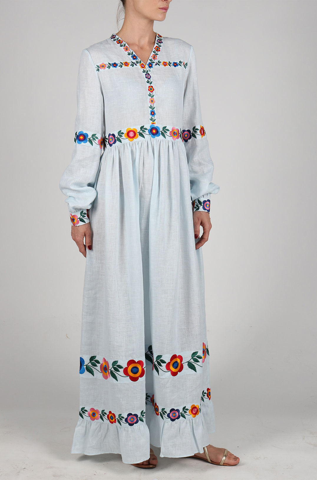 Fanm Mon BOHEME Vyshyvanka Maxi Dress Embroidered Light Blue Linen Multi Color Floral Embroidered Dress