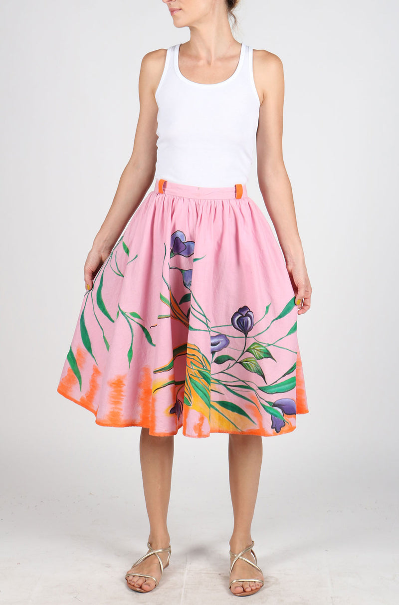 Fanm Mon Hand Painted Linen Pink Color Floral Leaves Summer Skirts HPSS171