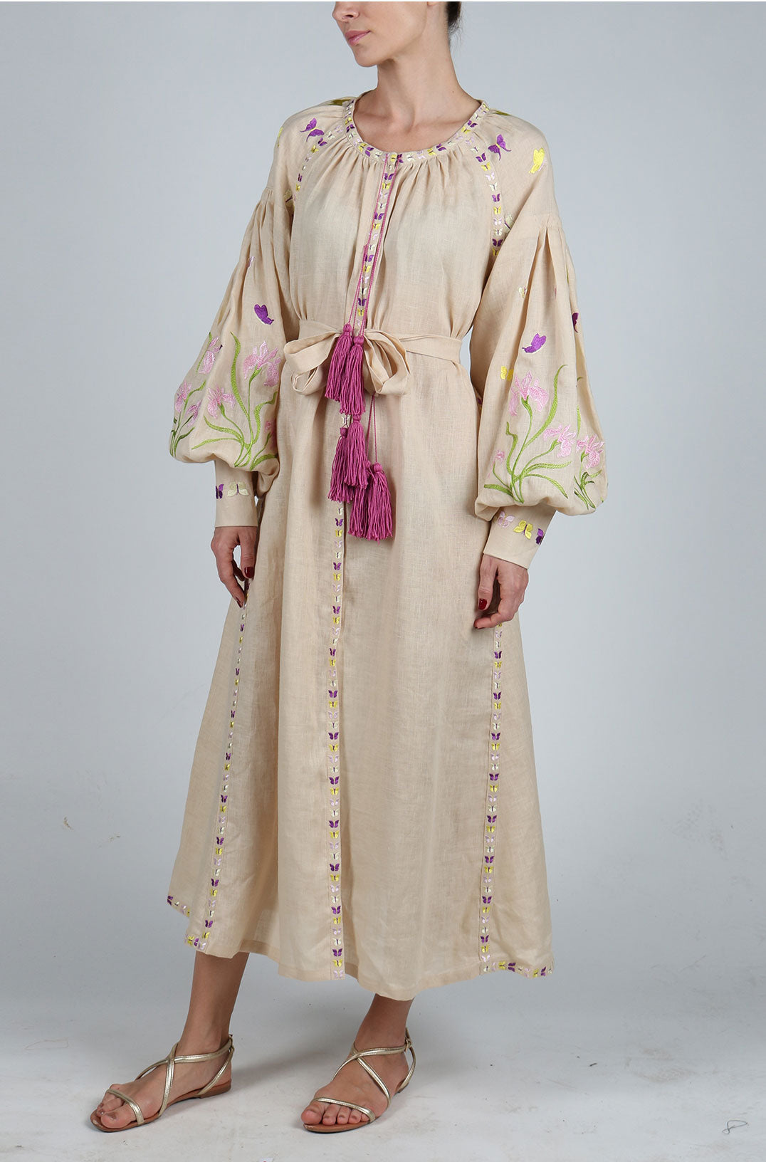 Fanm Mon Blush Linen Multi Color Floral Butterfly Embroidery Vyshyvanka MIDI Dress size XS-XXL MD0124