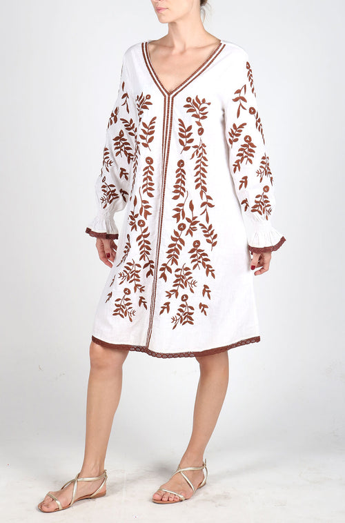 Fanm Mon White Linen Brown Embroidery Vyshyvanka Tunic Dress size XS-XXL TN011BRN