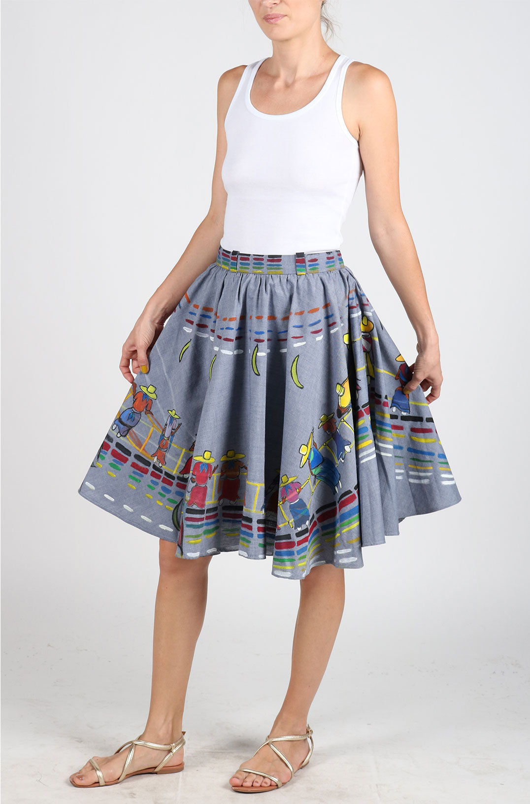 Fanm Mon Hand Painted Linen Denim Blue Color Ethnic Afro Caribbean Summer Skirts HPSS176
