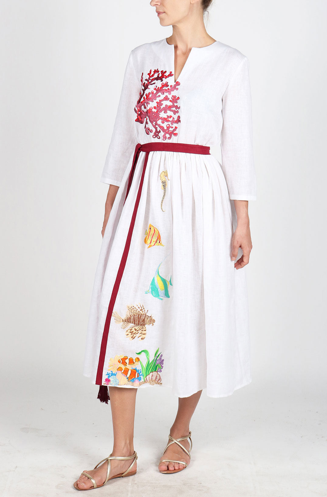 Fanm Mon KORAY White Linen Tropical Coral Reefs Embroidery Vyshyvanka MIDI Dress size XS-XXL