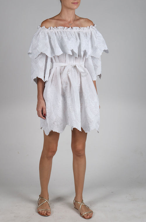 Fanm Mon JOLIE Vyshyvanka Mini Dress Embroidered White Linen Cut Out Style Embroidered Dress