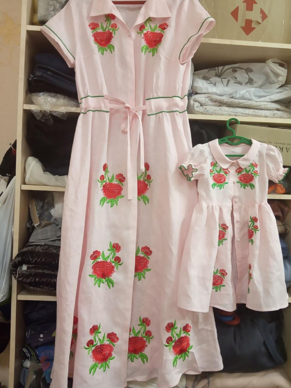 FANM MON JUNIE Girls Dress Linen with Red Rose Embroidery