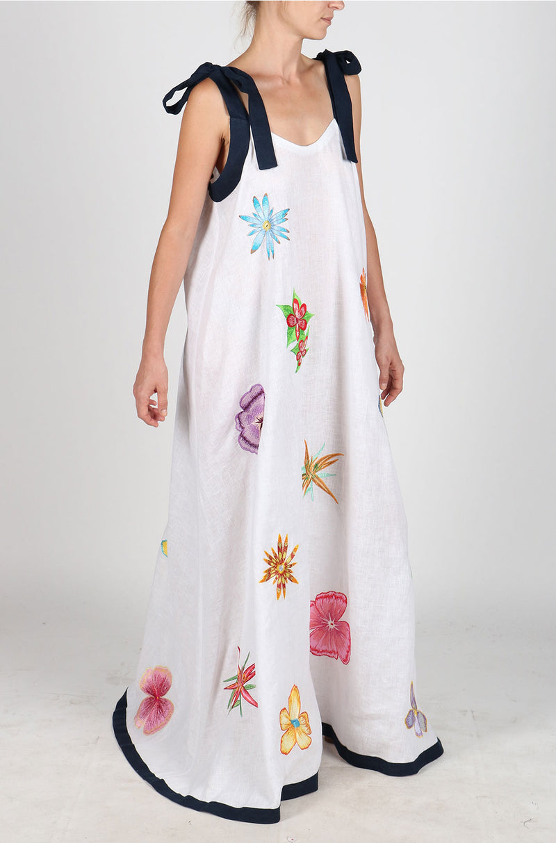Fanm Mon LABADIE White Navy Linen Exotic Tropical Floral Embroidery Vyshyvanka MAXI Dress