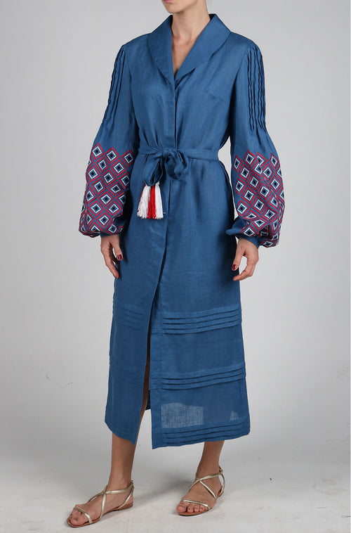 Fanm Mon Denim Blue Linen Red White Black Embroidery Vyshyvanka MIDI Dress size XS-XXL MD011BRW