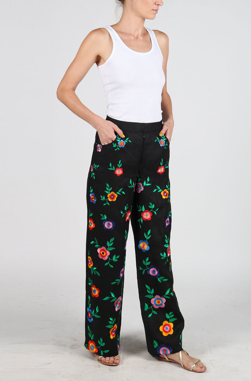 Fanm Mon Black Linen HIPPY Flower Power Vyshyvanka Pants Embroidered Multi Color Floral