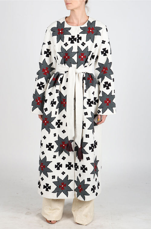 Fanm Mon TWALE Vyshyvanka White Linen Fabric Gray Burgandy Embroidery Long Coat Floral Embroidered Fall Winter