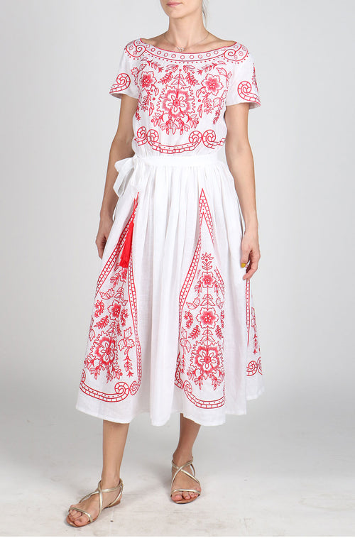 Fanm Mon AZALEA White Linen Red Floral Fence Embroidery Vyshyvanka MIDI Dress size XS-XXL