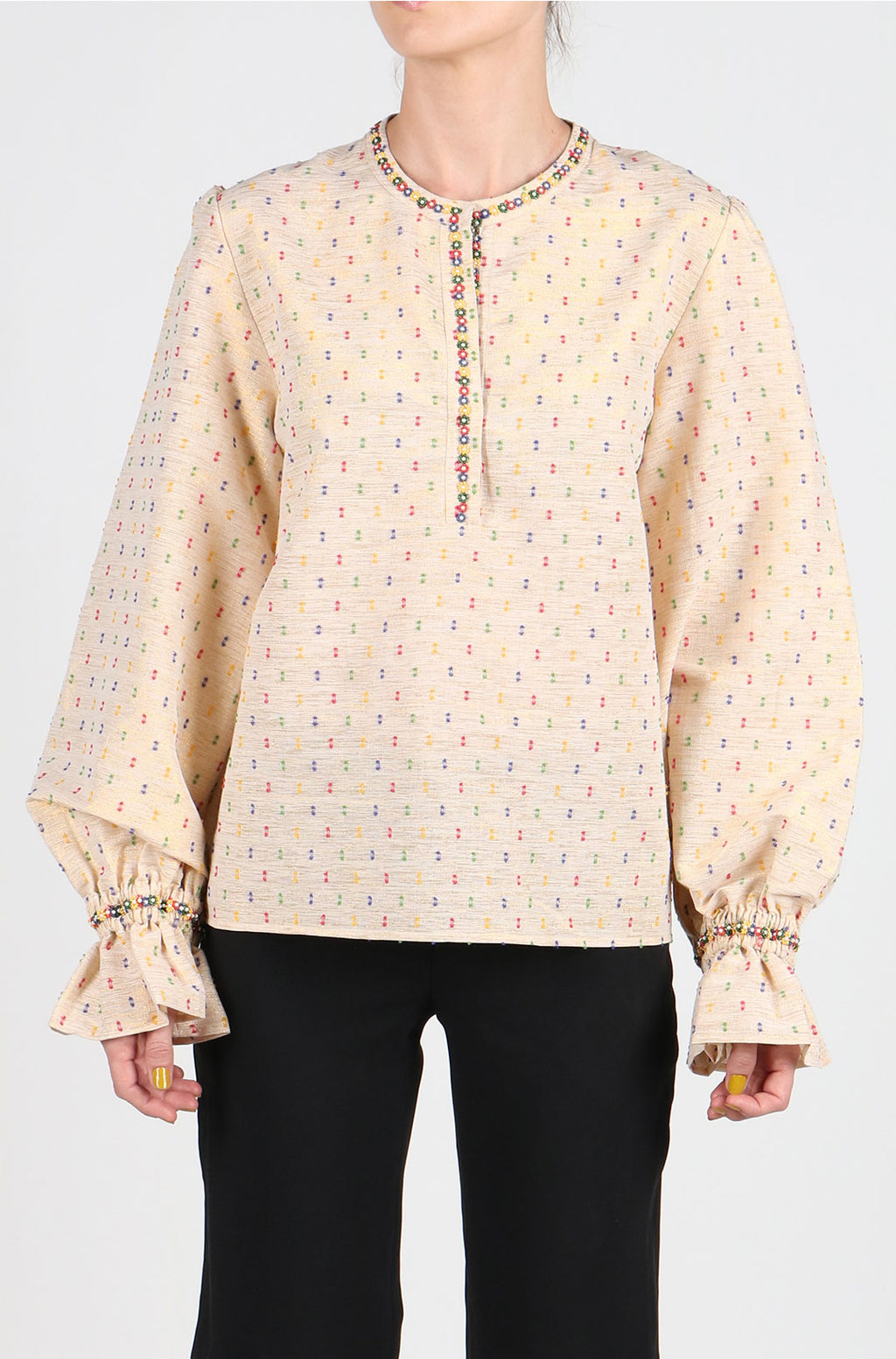 Fanm Mon Cream Blush Cotton Lurex Blouse with Multi Color Hand Beaded