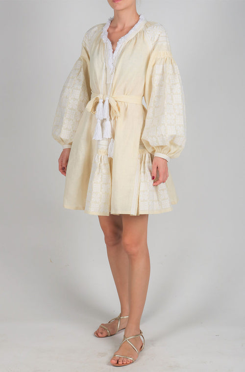 Fanm Mon Cream Linen White Embroidery Vyshyvanka Flaired MINI Dress size XS-XXL MN011XCZ001