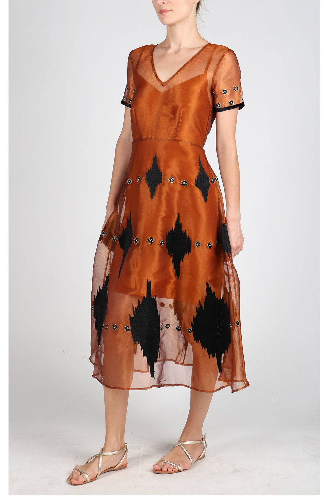 Fanm Mon SAJIN Silk Organza Copper Linen Black Geometric Embroidered MIDI Dress Vyshyvanka