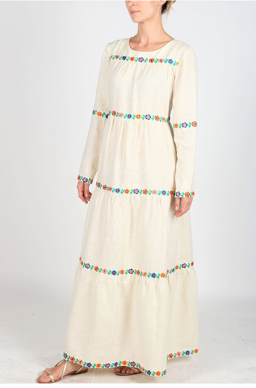 Fanm Mon Cream Vyshyvanka Embroidered MAXI Linen Floral Embroidered Dress MAYA-CRM