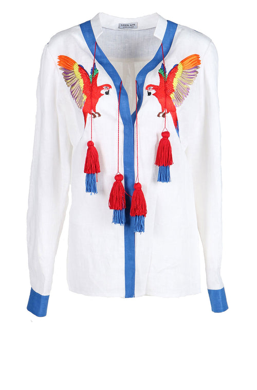 Fanm Mon IN STOCK KIKYA White Blue Linen Red Macaw Embroidery Vyshyvanka Blouse size XS-XXL