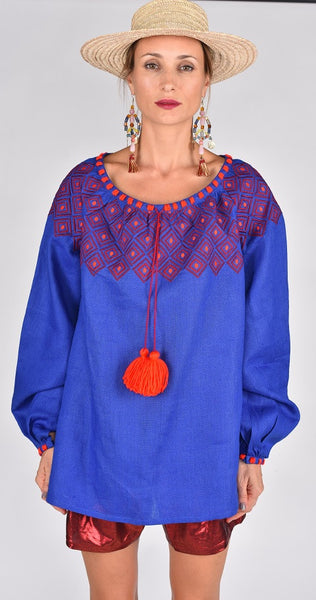 Fanm Mon SS17 MINA Vyshyvanka Tunic Dress Embroidered Electric Blue Linen Red Gold Embroidered Dress
