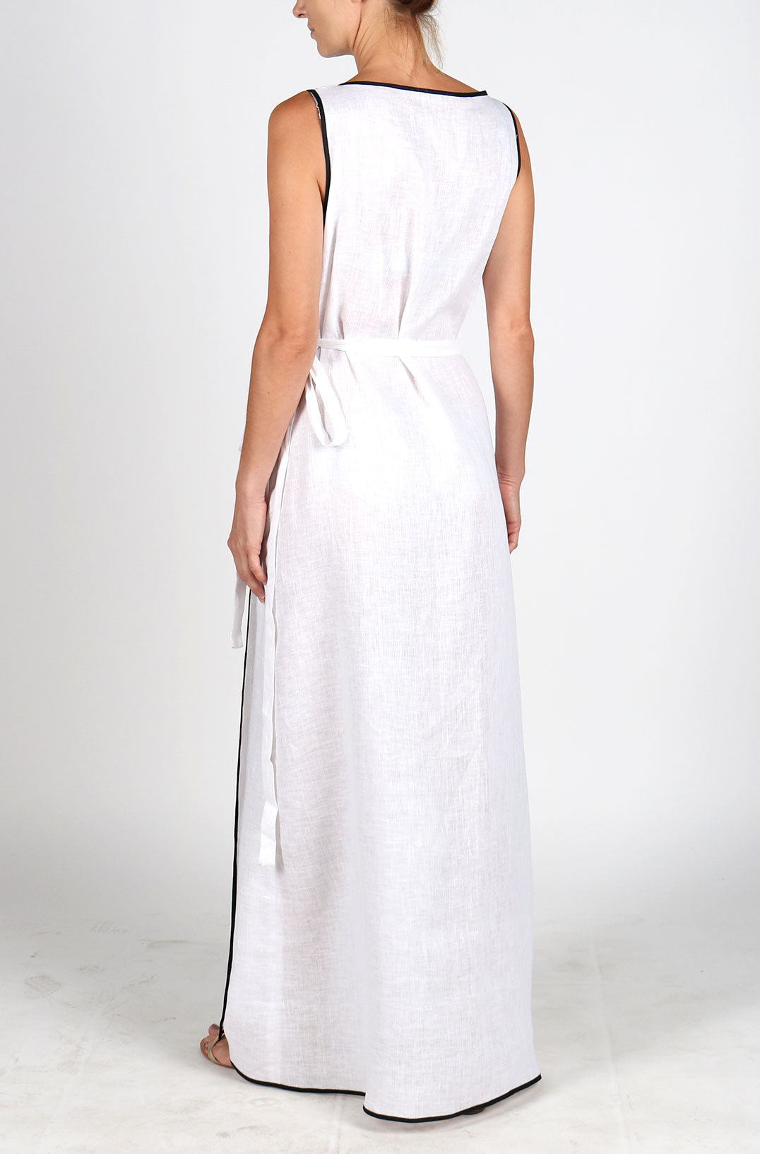 Fanm Mon HEATHER White Linen Peacock Feathers Embroidery Vyshyvanka MAXI Dress size XS-XXL