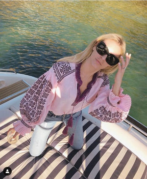 Fanm Mon MORGAN STEWART Vyshyvanka Top Embroidered Pink Fabric Vine Embroidery Unique Blouse