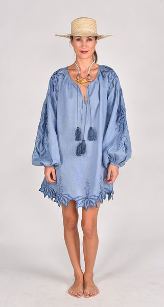 Fanm Mon SS17 BAYA Vyshyvanka Mini Dress Embroidered Denim Blue Linen Blue Cut Out Embroidery Dress