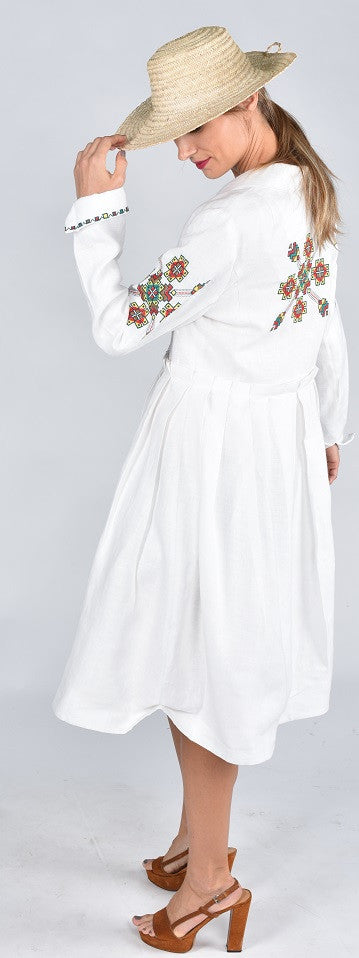 Fanm Mon SS17 PURE Vyshyvanka Jacket Dress Coat Cardigan Embroidered White Linen Green Floral Embroidered Dress