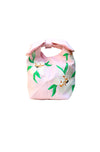Fanm Mon Anya Pink White Lilly Embroidered Linen Handbag