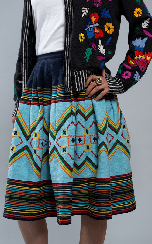 Fanm Mon Summer 17 CYNTHIA Aqua Cotton Multi Color Floral Embroidered Vyshyvanka Skirt IN STOCK SIZE MEDIUM