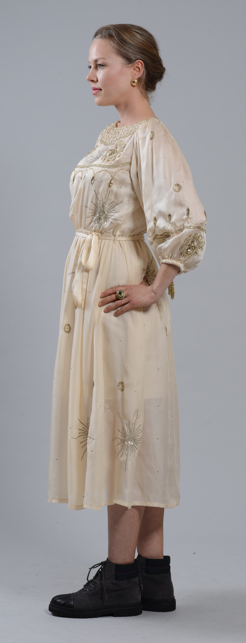 Fanm Mon GOLDIE Cream Silk Gold Beaded Embroidery MIDI Dress Vyshyvanka SIZE MEDIUM