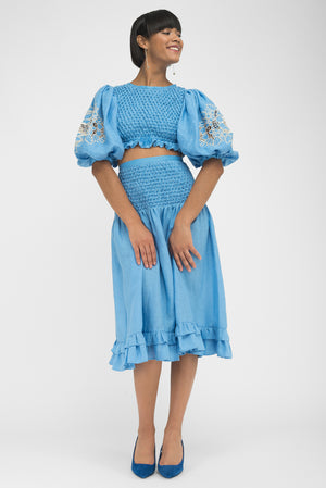 FANM MON KASH Lagoon Blue Linen 2 Piece Top Skirt Set Dress