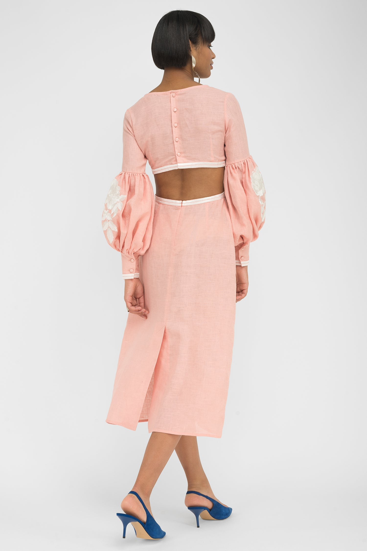 FANM MON EFES Peach Linen Open Back Midi Dress