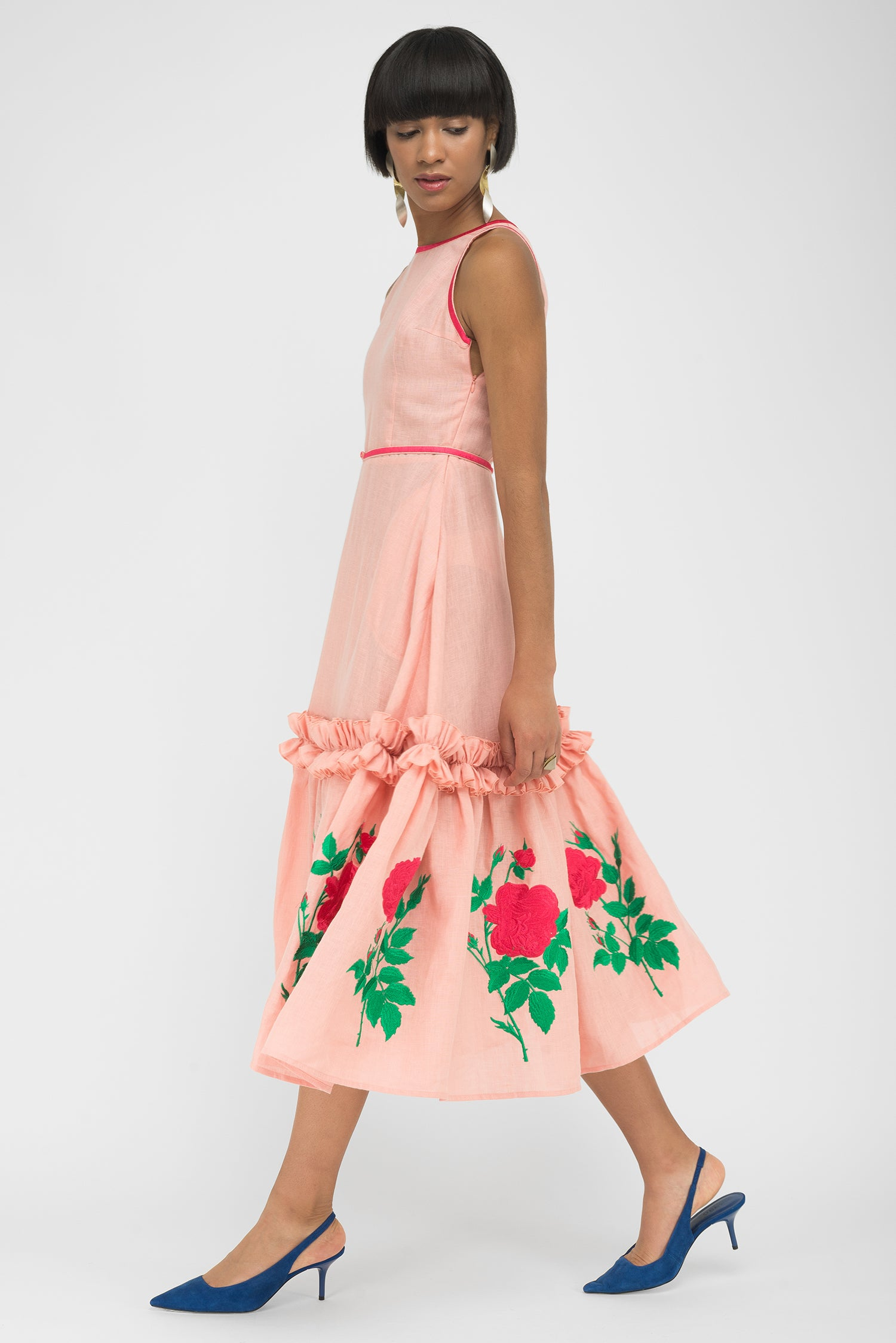 FANM MON DIDIM Peach Linen Red Floral Midi Dress