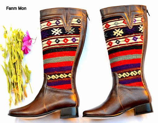 EU 38 US 7 Woman kilim boot, leather ridding boots, vintage, kilim ethnic, bohemian, Nomads, footwear