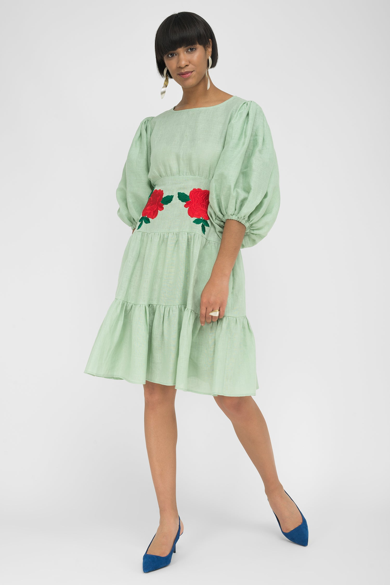 FANM MON SALDA Mint Green Linen Knee Length Dress