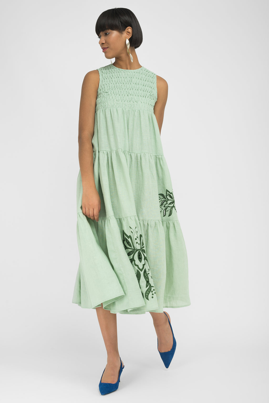 FANM MON SIMENA Mint Green Linen Midi Dress