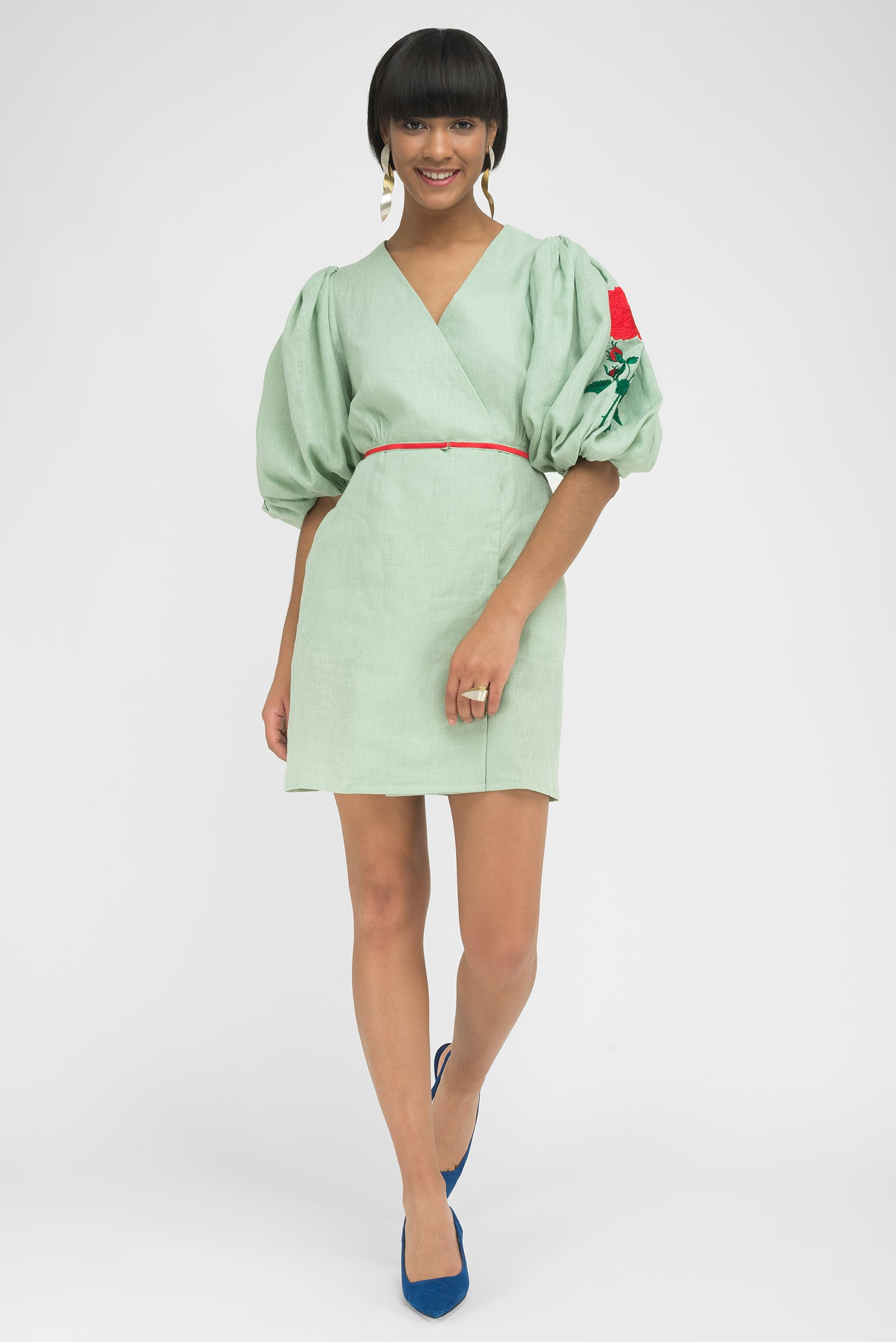 FANM MON NIF Green Mint Linen Green Embroidery Mini Dress