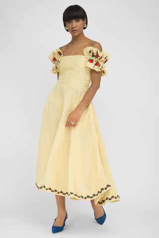 FANM MON Rondel White Lilly Embroidered Linen Skirt