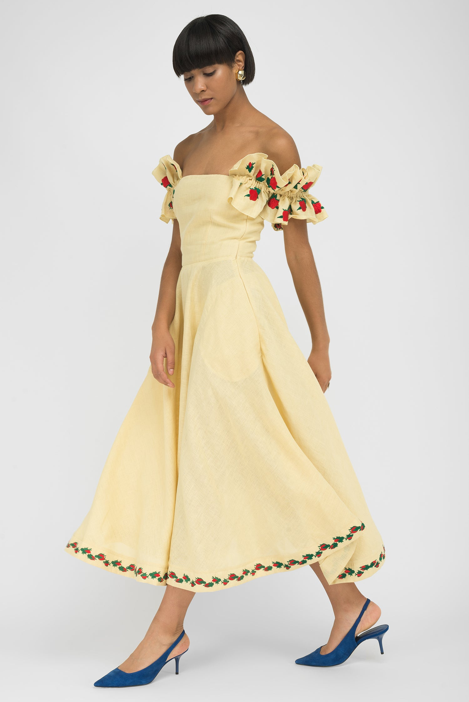 FANM MON ALANYA Light Yellow Linen Off On Shoulder Embroidered Midi Dress