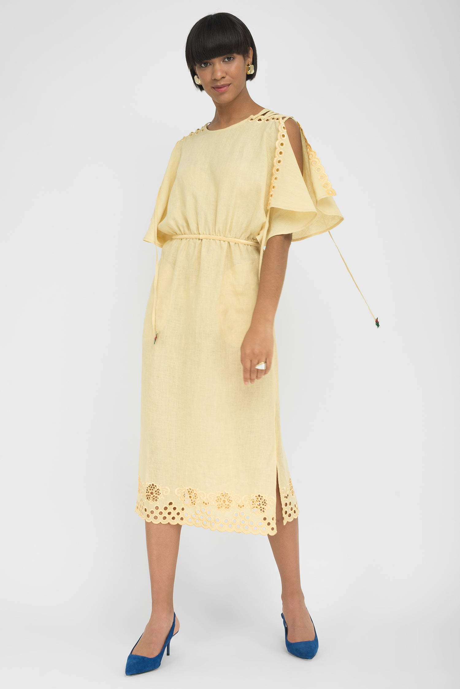 FANM MON SIDE Light Yellow Linen Open Shoulder Embroidered Midi Dress