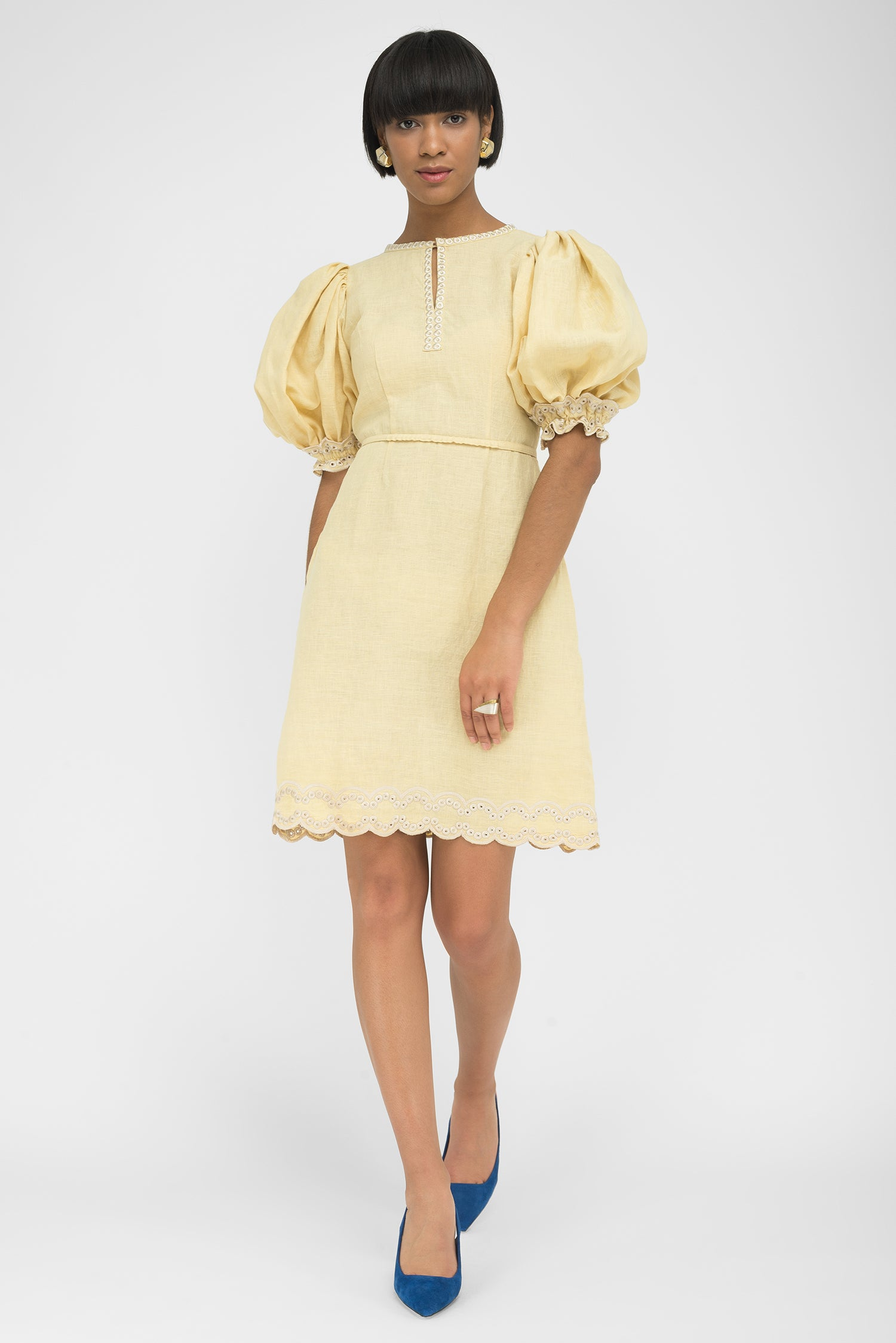 FANM MON LETON Light Yellow Linen Balloon Sleeve Embroidered Mini Dress