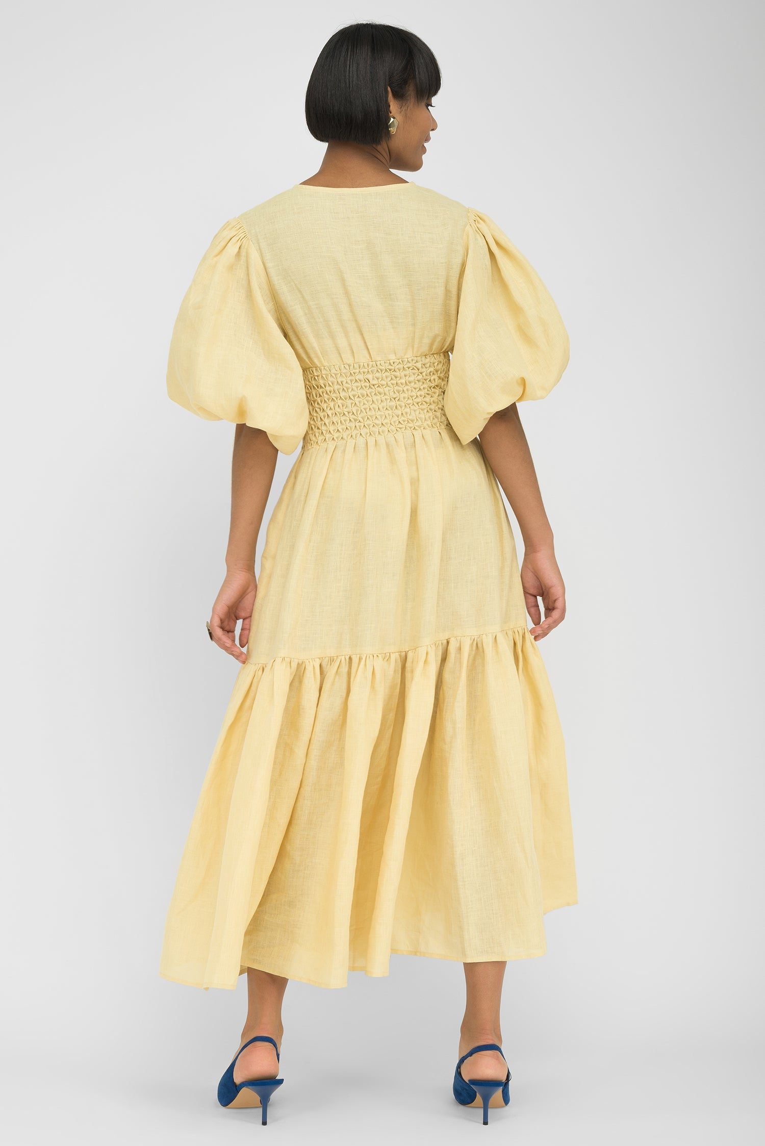FANM MON SANDRAS Light Yellow Linen Red Floral Embroidered Midi Dress
