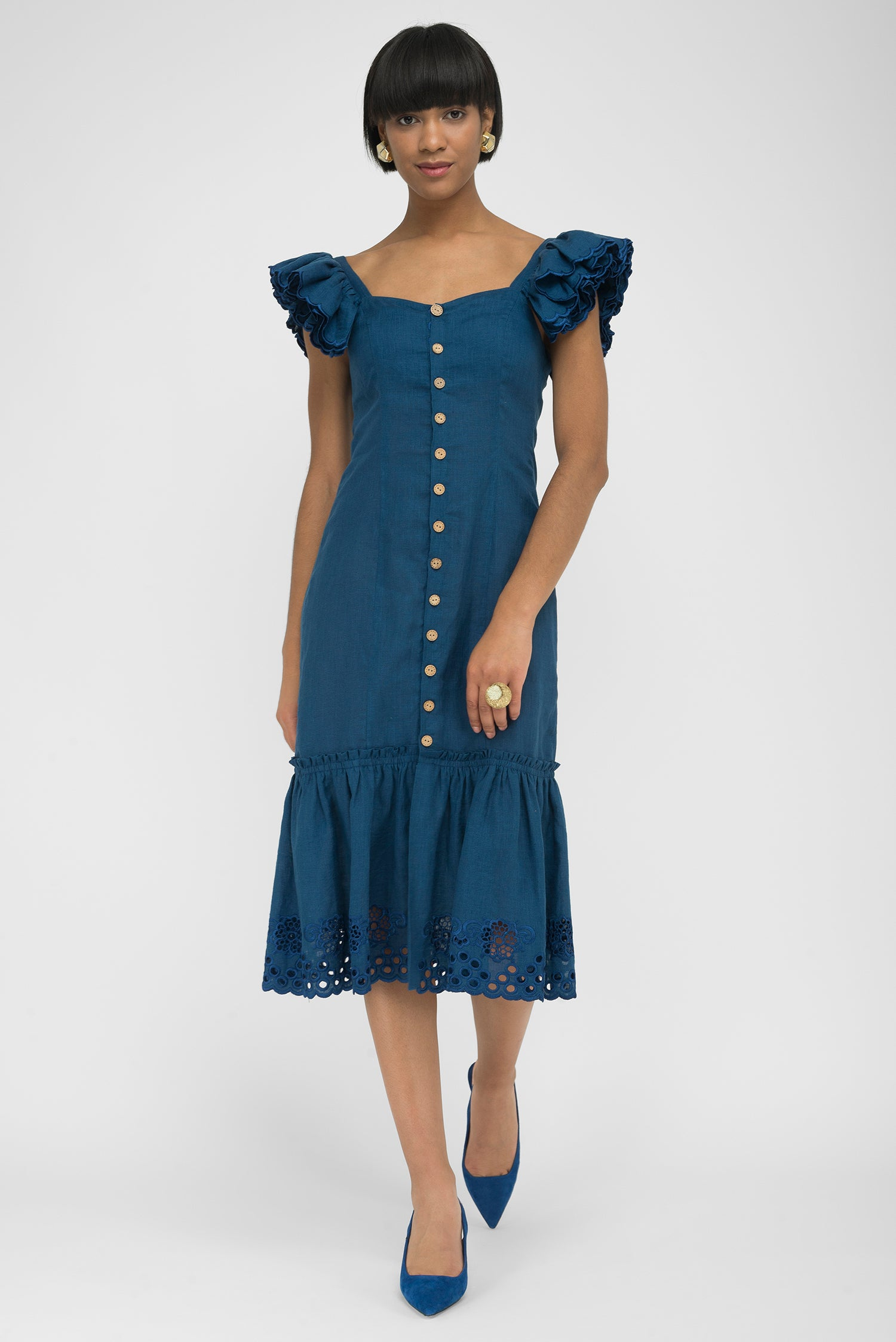 FANM MON PATARA Indigo Blue Linen Button Front Embroidered Midi Dress