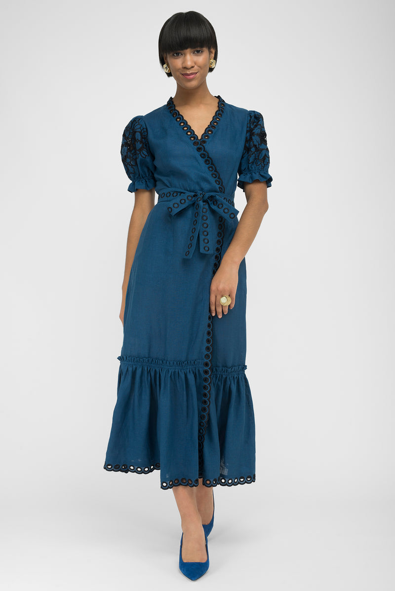FANM MON CIDE Indigo Blue Linen V Neck Embroidered Midi Dress