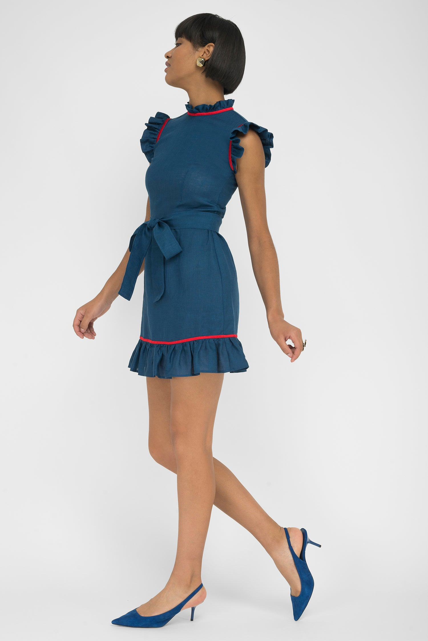 FANM MON BELEK Indigo Blue Linen Choker Neck Embroidered Mini Dress