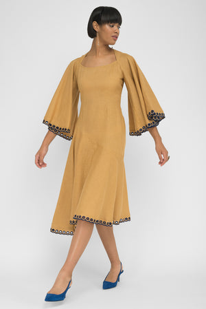 FANM MON MILAS Caramel Linen Open Back Dress