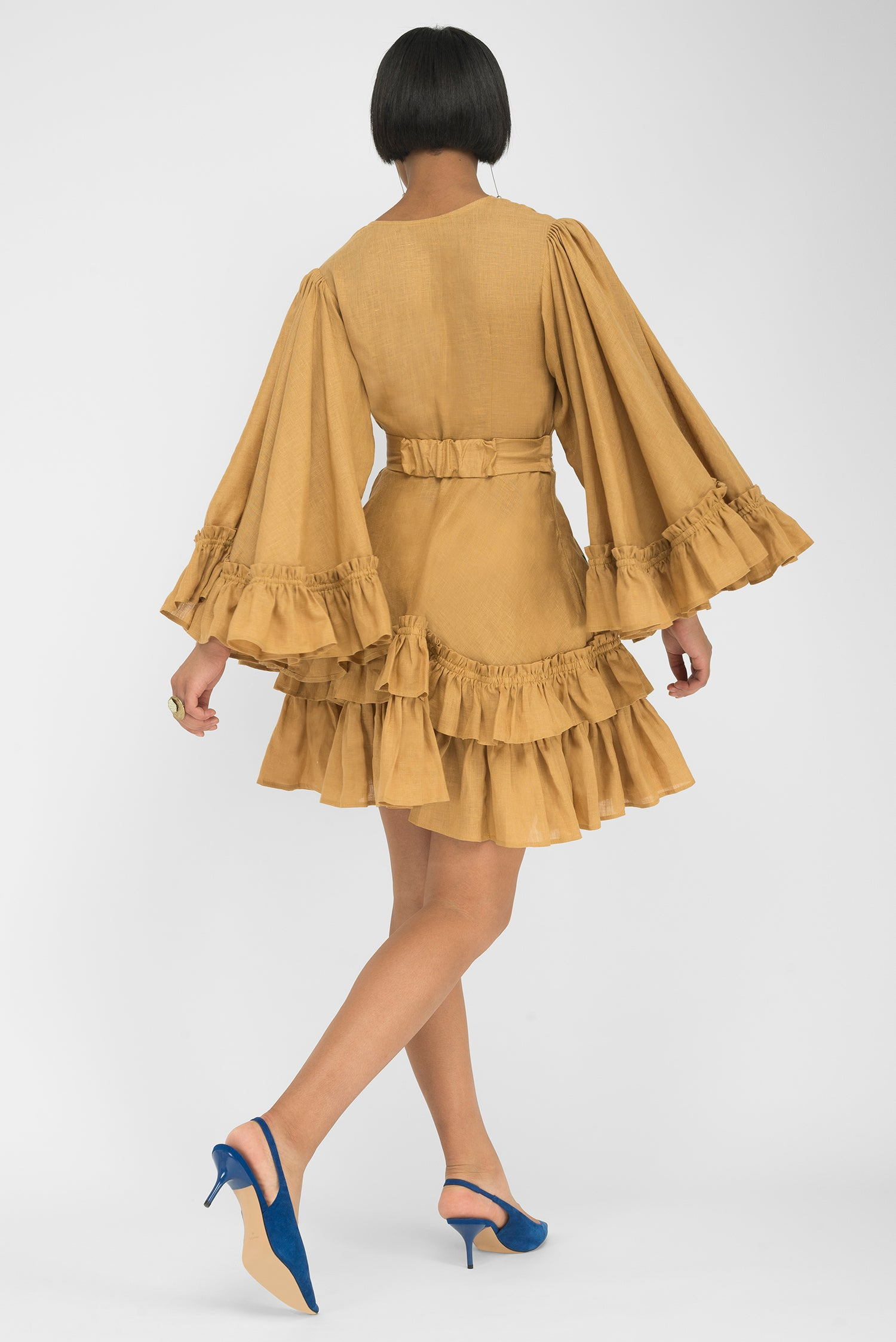 FANM MON TLOS Caramel Linen Flirty Mini Dress