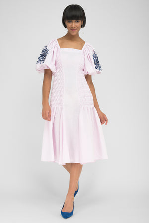 FANM MON MARMA Light Pink Linen Smock Black Embroidered Midi Dress