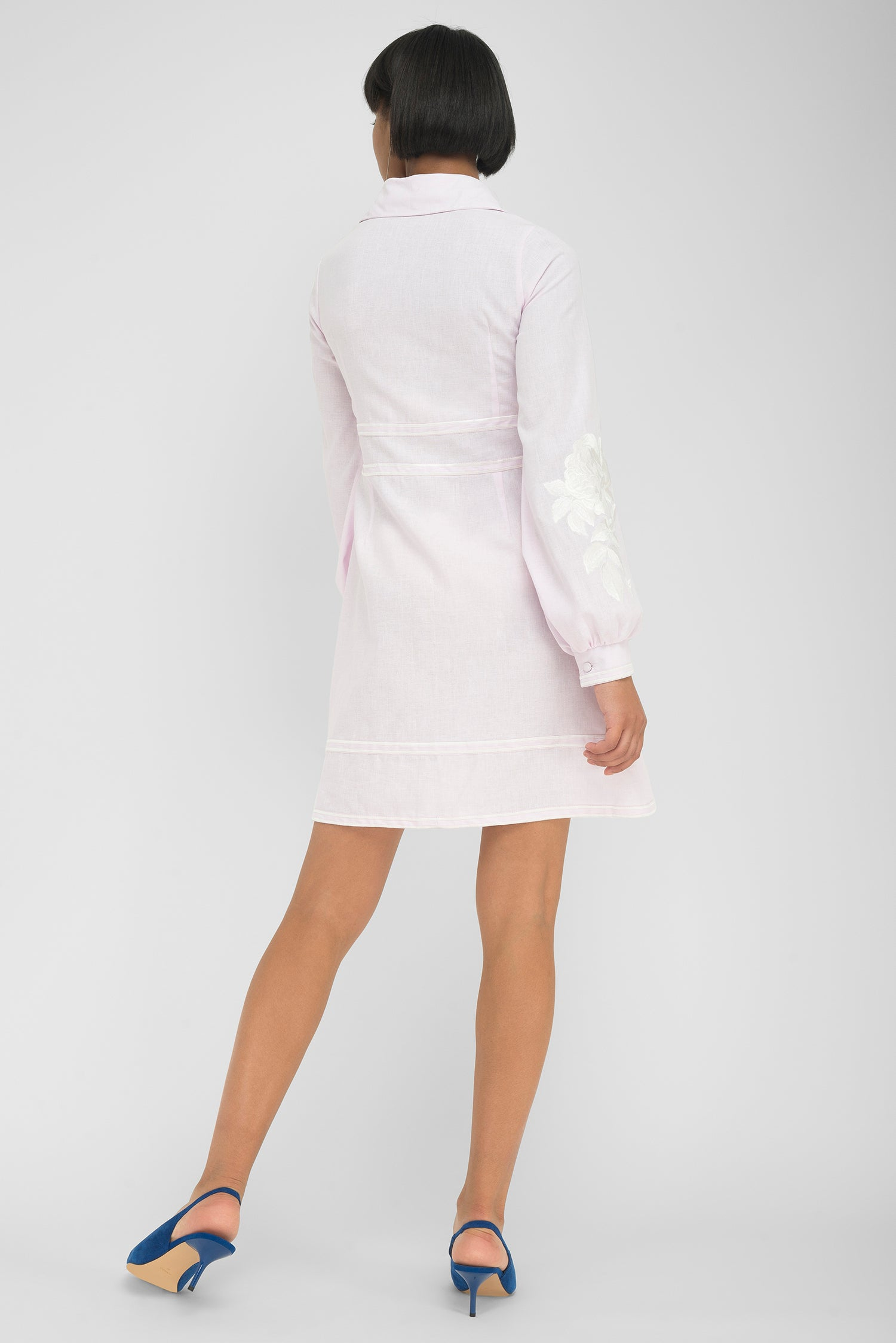 FANM MON SOMA Light Pink Linen Collar Neck White Embroidered Mini Dress