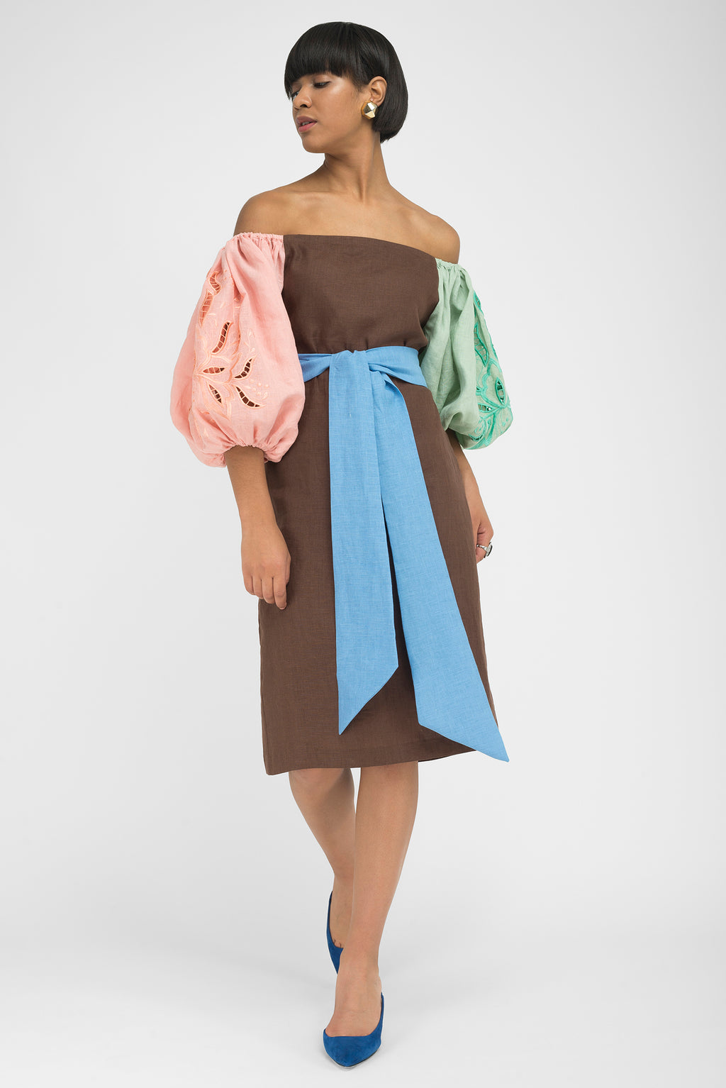 FANM MON YAKA Expresso Linen 2 Colored Embroidered Sleeves With Bow Tie Dress