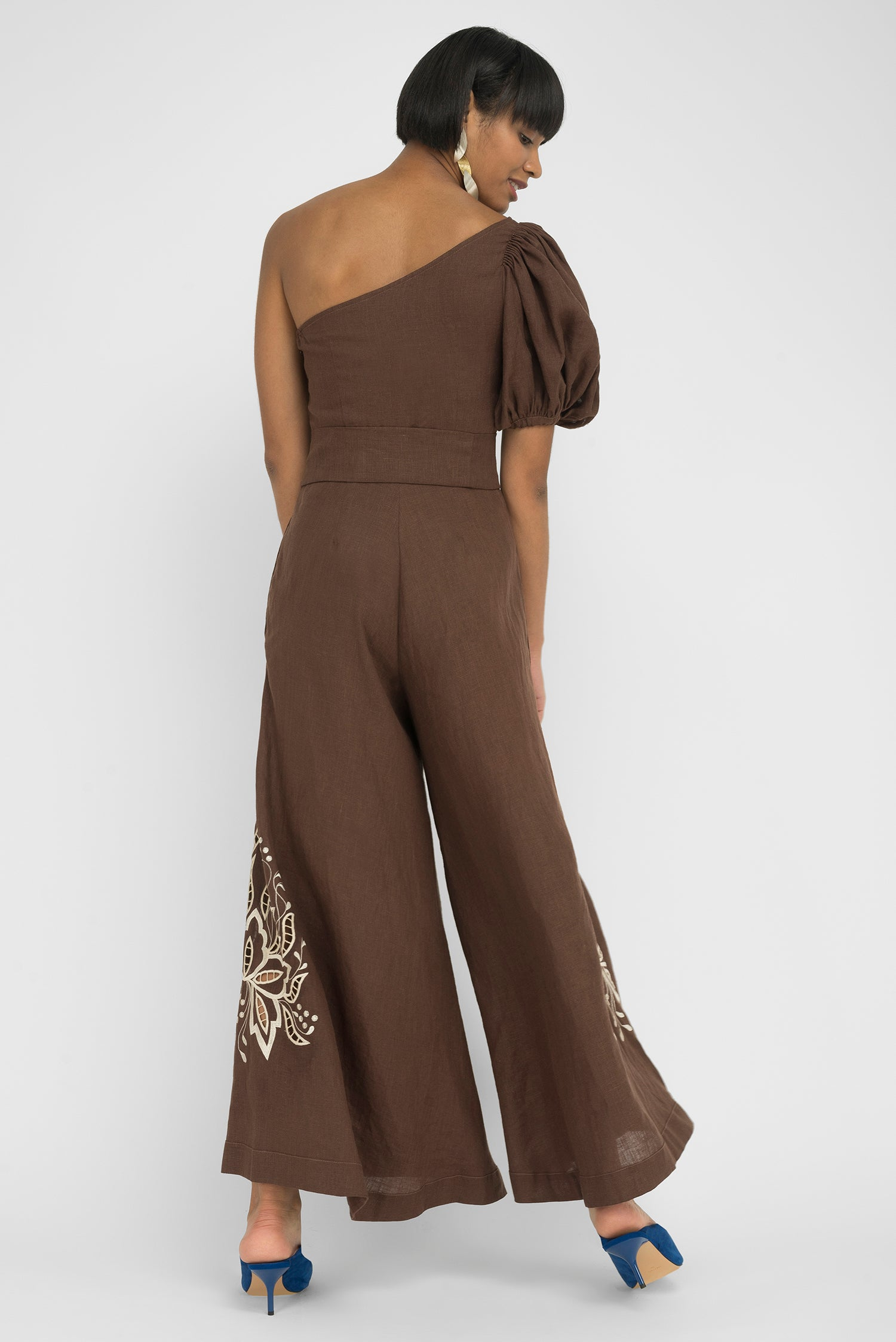FANM MON JAKO Expresso Linen One Shoulder Embroidered Jumpsuit