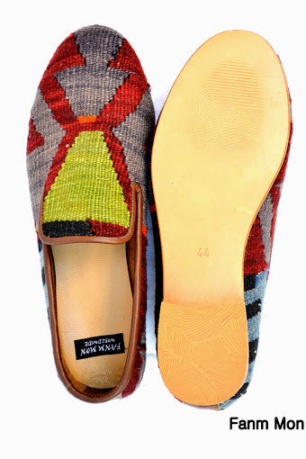 Men kilim shoes Sz EU 44 US 11 leather trim bold patterns flat chic dressy unique slippers trend oxford fashion stylish style