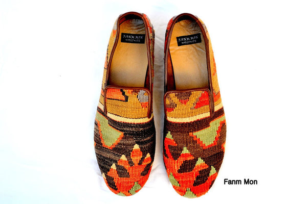 Men kilim shoes Sz EU 45 US 12 leather trim bold patterns flat chic dressy unique slippers trend oxford fashion stylish style